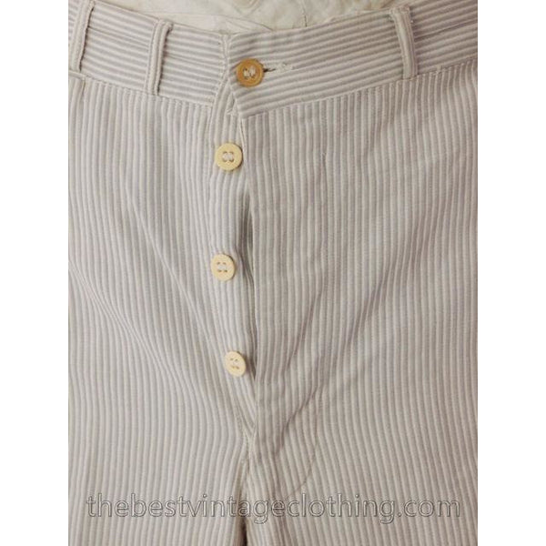 Mens Vintage Side Buckle Button Fly Pants 1930s Gray/White Pinstripe Cotton 38/27 - The Best Vintage Clothing  - 5