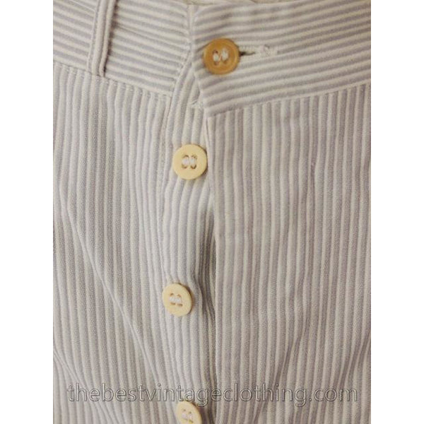 Mens Vintage Side Buckle Button Fly Pants 1930s Gray/White Pinstripe Cotton 38/27 - The Best Vintage Clothing  - 6