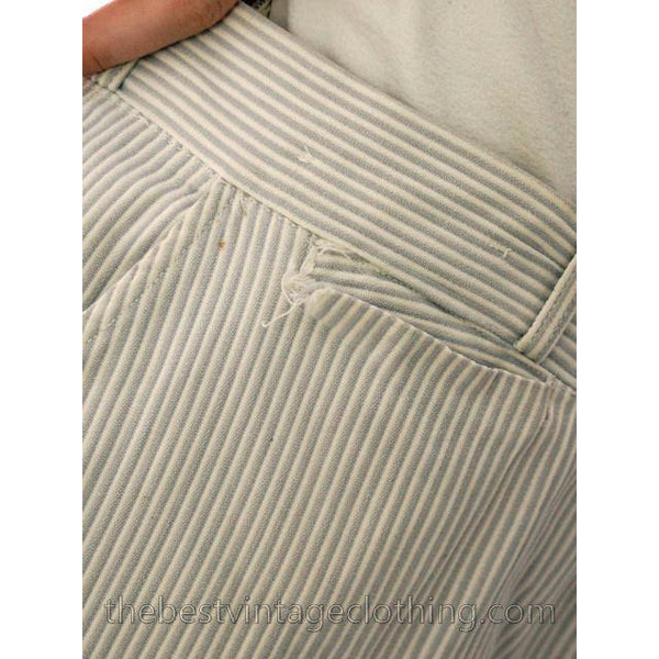 Mens Vintage Side Buckle Button Fly Pants 1930s Gray/White Pinstripe Cotton 38/27 - The Best Vintage Clothing  - 7