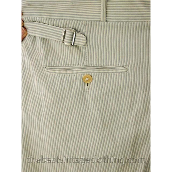 Mens Vintage Side Buckle Button Fly Pants 1930s Gray/White Pinstripe Cotton 38/27 - The Best Vintage Clothing  - 8