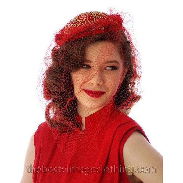 Vintage Red Embroidered Hat Gorgeous Long Net 1940s - The Best Vintage Clothing  - 5