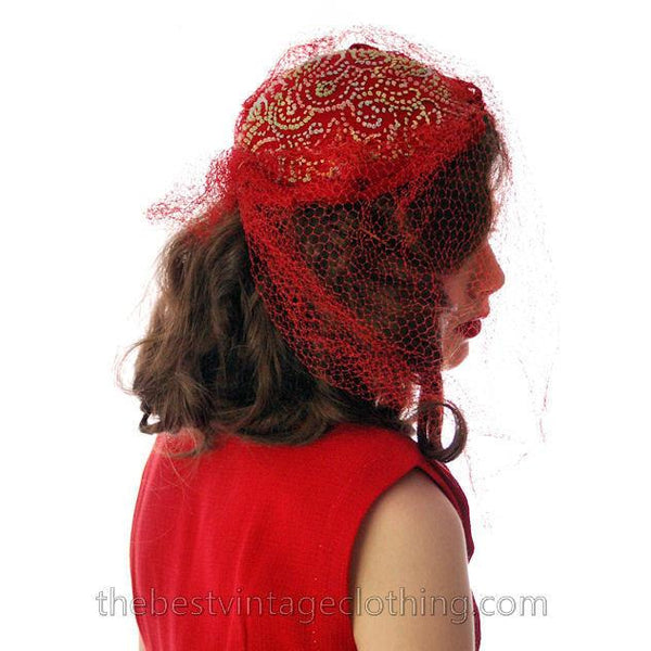 Vintage Red Embroidered Hat Gorgeous Long Net 1940s - The Best Vintage Clothing  - 7