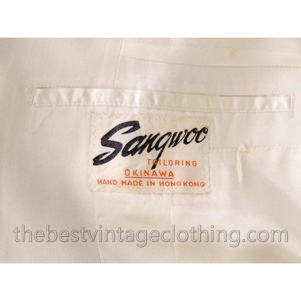 Vintage Mens White Linen Dinner Jacket 1950s Hand Tailored Hong Kong Size 42 - The Best Vintage Clothing  - 6