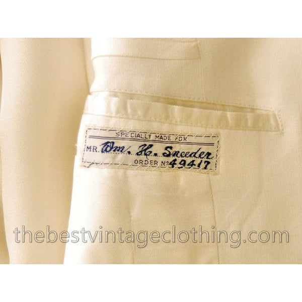 Vintage Mens White Linen Dinner Jacket 1950s Hand Tailored Hong Kong Size 42 - The Best Vintage Clothing  - 4