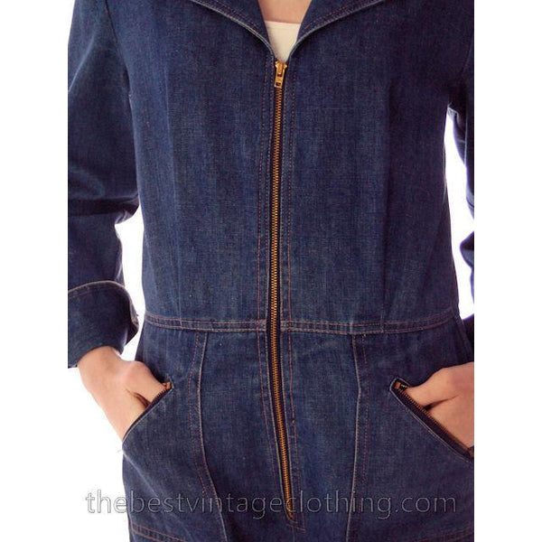 Vintage Womens Denim Jumpsuit 1970s Sears Bust 38 - The Best Vintage Clothing  - 4
