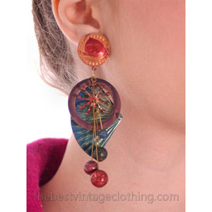 Vintage 1980s Long Drop Earrings Colorful Metal Fans Pierced - The Best Vintage Clothing