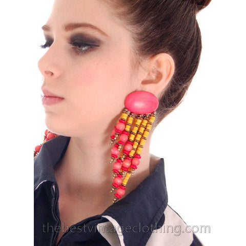 Vintage Wooden Pink & Yellow Pierced Earrings 1980S