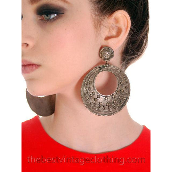 Vintage Silver Tone Circle Pierced Earrings Ultra 1980S - The Best Vintage Clothing  - 1