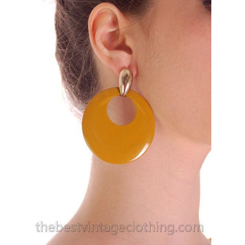 Vintage 1980s Mustard Enamel Wood Earrings Hoops Pierced