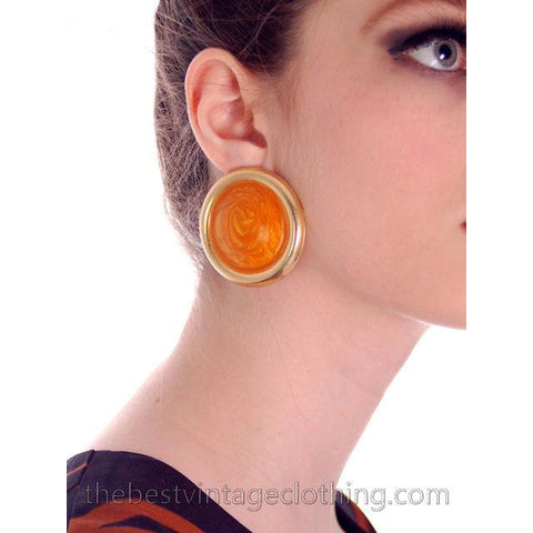 Big Vintage Disc Earrings Pierced Butterscotch Swirls