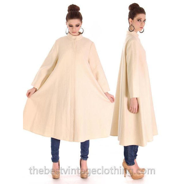 Vintage 1970s  Vuokko Suomi Finland Boiled Wool Cream Tent Coat Snap Front Mod 38 Fits S to L - The Best Vintage Clothing  - 2