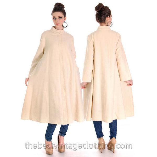 Vintage 1970s  Vuokko Suomi Finland Boiled Wool Cream Tent Coat Snap Front Mod 38 Fits S to L - The Best Vintage Clothing  - 1