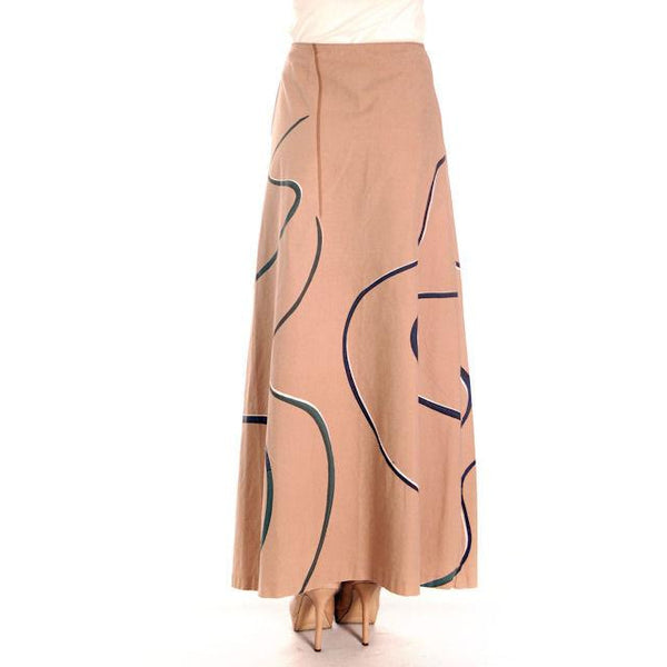 Vintage Marimekko 1970s Cotton  Maxi  Skirt  Taupe Bold Print S - The Best Vintage Clothing  - 3