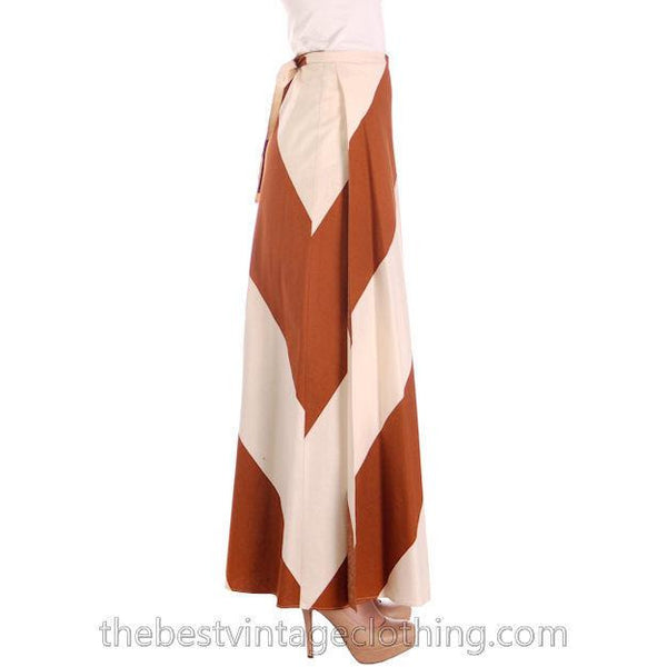 Vintage Vuokko 1970s Awning Stripe Maxi Wrap  Skirt Brown Ivory M - The Best Vintage Clothing  - 2