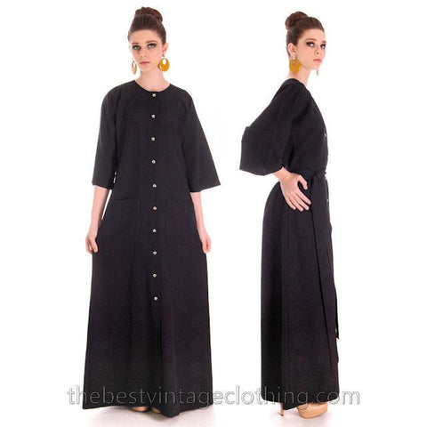 Vintage Rare Vuokko Black Circle Motif Finest Wool Voile Maxi Dress 1970s M 38