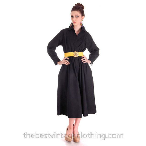 Vintage Vuokko Designer Dress 1970s  Black Cotton Tent Style  S-M - The Best Vintage Clothing  - 1