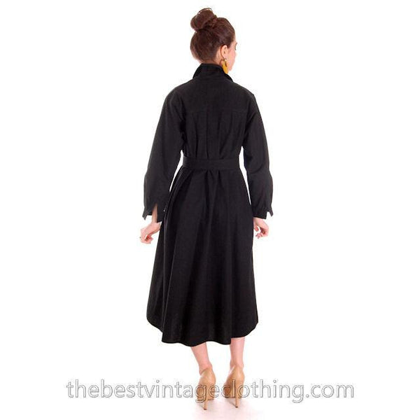 Vintage Vuokko Designer Dress 1970s  Black Cotton Tent Style  S-M - The Best Vintage Clothing  - 3