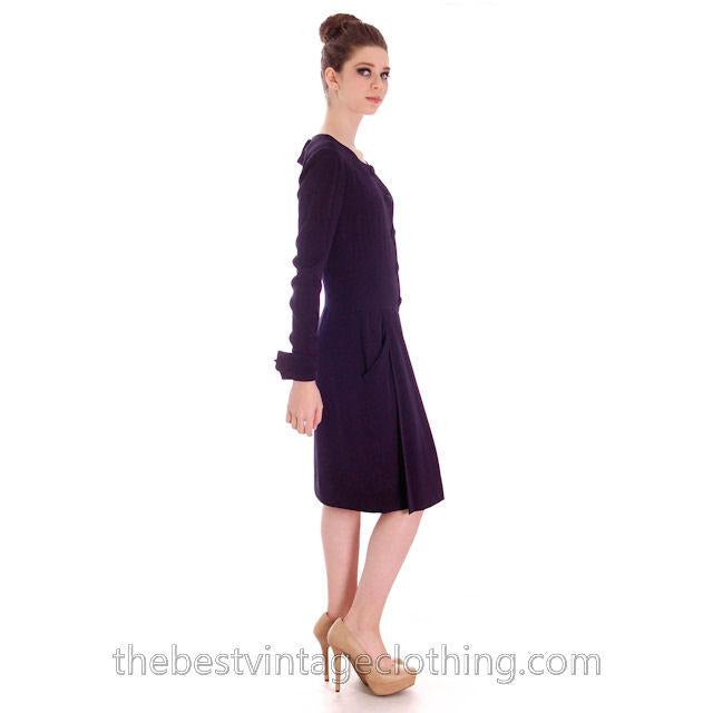 Chanel Couture Vintage Cocktail Dress Deep Blue Backless Sexy Small - The Best Vintage Clothing  - 1