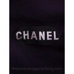 Chanel Couture Vintage Cocktail Dress Deep Blue Backless Sexy Small - The Best Vintage Clothing  - 5