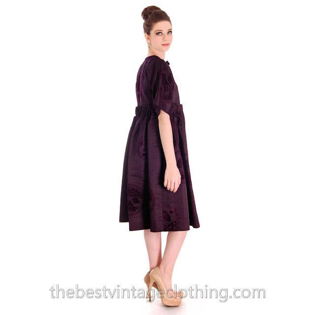 Vintage Aubergine Silk Evening Coat Created 1960s of Antique Fabric Provenance S - The Best Vintage Clothing  - 1