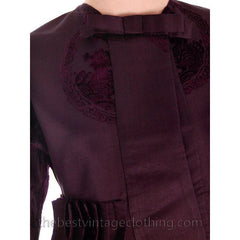 Vintage Aubergine Silk Evening Coat Created 1960s of Antique Fabric Provenance S - The Best Vintage Clothing  - 11