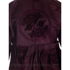 Vintage Aubergine Silk Evening Coat Created 1960s of Antique Fabric Provenance S - The Best Vintage Clothing  - 12