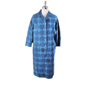 Vintage Marimekko Printed Cotton Shirt Dress 1970s Turquoise Block Print Floral 42/L