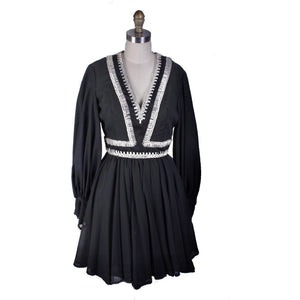 Vintage Cocktail Dress Black & Rhinestones Mini 1960s 34-28-Free S/M