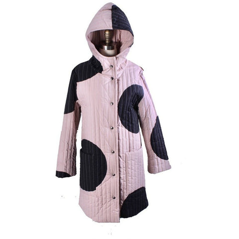 Vintage Vuokko Huge Polka Dot Cotton Quilted Womens Hooded Coat Snap Front Mod XS/S