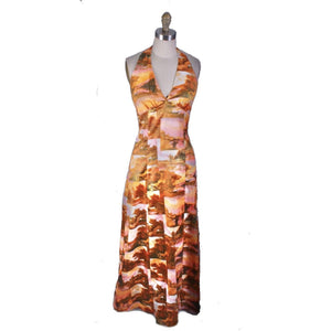Vtg Womens 70s Halter Maxi Dress Photo Print Pink Orange Disco S Acetate