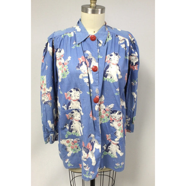 Vintage 1950s Cotton Smock Housewife Shabby Playful Puppies Print Cotton  I Love Lucy S-XL