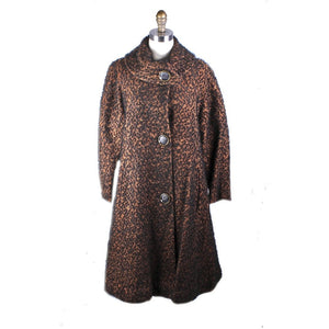 Vintage 1950s Swing Coat Brown/Black Boucle M/L Womens Winter