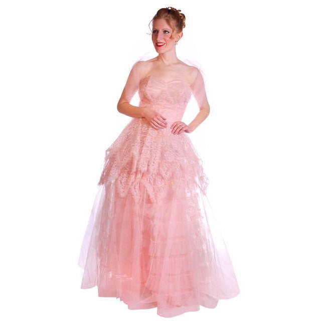 Vintage Full Length Dress Pink Prom Gown Frothy Lace & Tulle 1940s Small - The Best Vintage Clothing  - 1