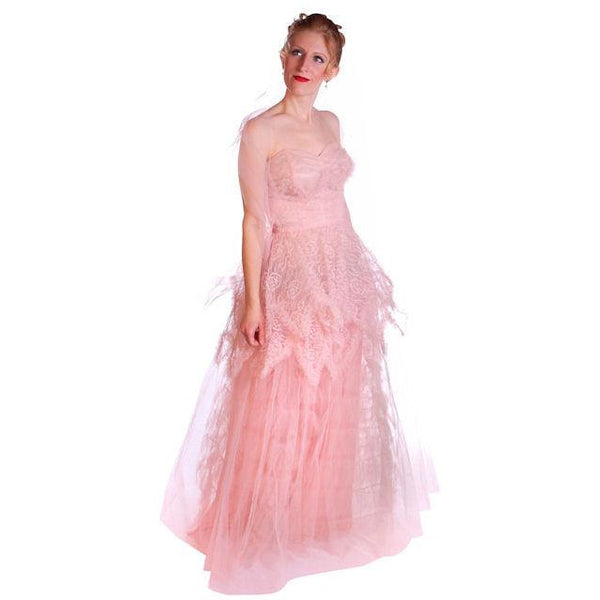 Vintage Full Length Dress Pink Prom Gown Frothy Lace & Tulle 1940s Small - The Best Vintage Clothing  - 2