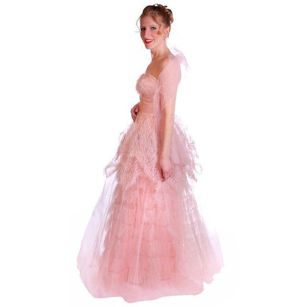 Vintage Full Length Dress Pink Prom Gown Frothy Lace & Tulle 1940s Small - The Best Vintage Clothing  - 3
