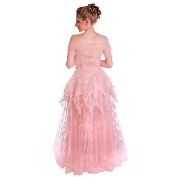 Vintage Full Length Dress Pink Prom Gown Frothy Lace & Tulle 1940s Small - The Best Vintage Clothing  - 4