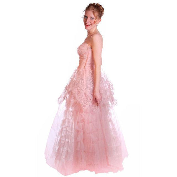 Vintage Full Length Dress Pink Prom Gown Frothy Lace & Tulle 1940s Small - The Best Vintage Clothing  - 5