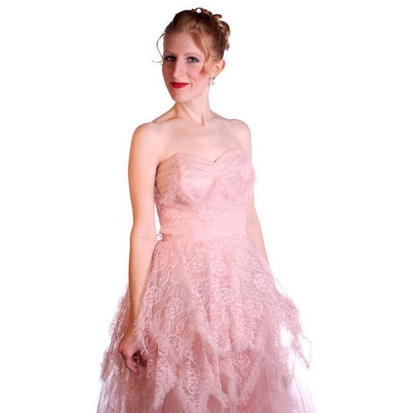 Vintage Full Length Dress Pink Prom Gown Frothy Lace & Tulle 1940s Small - The Best Vintage Clothing  - 6