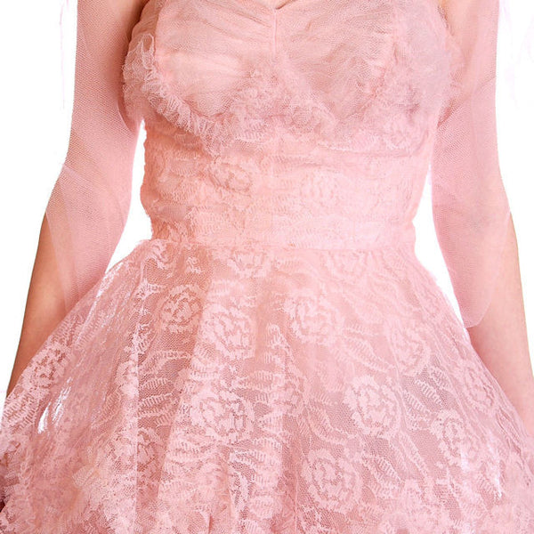 Vintage Full Length Dress Pink Prom Gown Frothy Lace & Tulle 1940s Small - The Best Vintage Clothing  - 7