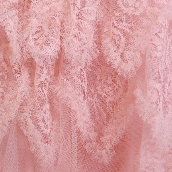 Vintage Full Length Dress Pink Prom Gown Frothy Lace & Tulle 1940s Small - The Best Vintage Clothing  - 9