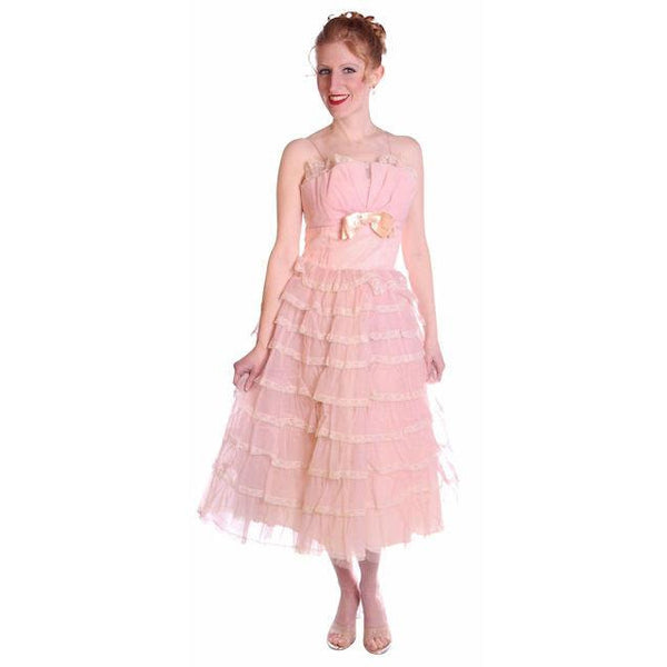 Vintage Pink Party Dress Chiffon Ruffles Skirt 1950s 32-25-Free - The Best Vintage Clothing  - 2