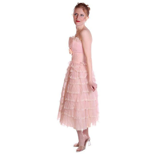 Vintage Pink Party Dress Chiffon Ruffles Skirt 1950s 32-25-Free - The Best Vintage Clothing  - 3