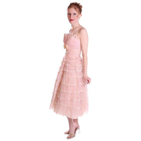 Vintage Pink Party Dress Chiffon Ruffles Skirt 1950s 32-25-Free