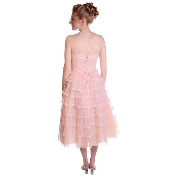 Vintage Pink Party Dress Chiffon Ruffles Skirt 1950s 32-25-Free - The Best Vintage Clothing  - 4