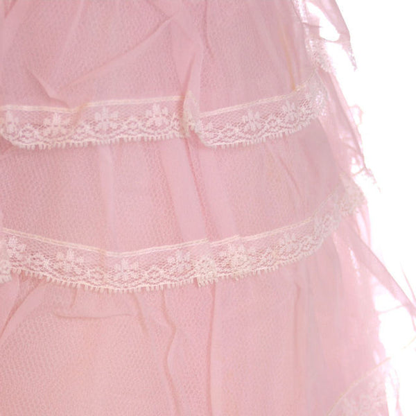 Vintage Pink Party Dress Chiffon Ruffles Skirt 1950s 32-25-Free - The Best Vintage Clothing  - 6