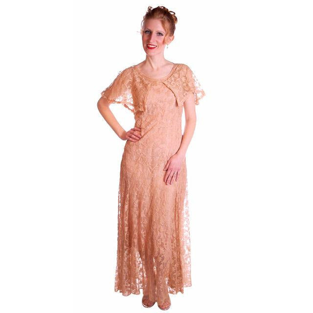 Vintage Dress Pale Peach Lace Garden Party Gown 1930's Small - The Best Vintage Clothing  - 1