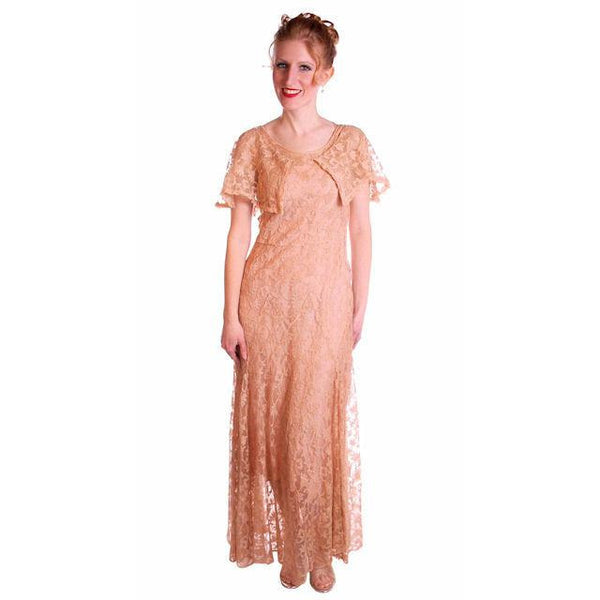 Vintage Dress Pale Peach Lace Garden Party Gown 1930's Small - The Best Vintage Clothing  - 2