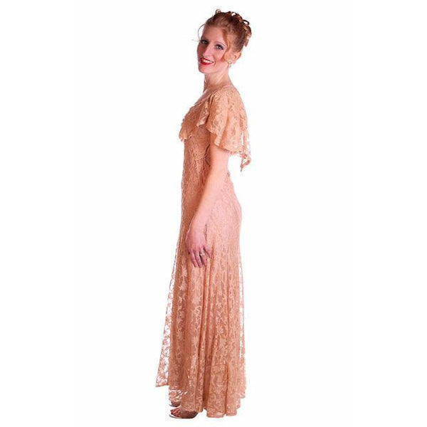 Vintage Dress Pale Peach Lace Garden Party Gown 1930's Small - The Best Vintage Clothing  - 3
