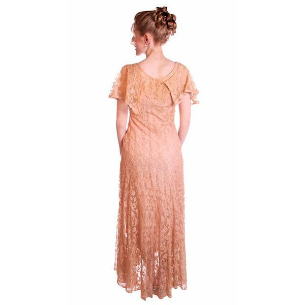 Vintage Dress Pale Peach Lace Garden Party Gown 1930's Small - The Best Vintage Clothing  - 4