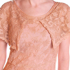 Vintage Dress Pale Peach Lace Garden Party Gown 1930's Small - The Best Vintage Clothing  - 5